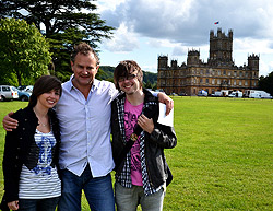 Emily Jayne Roberts, Hugh Bonneville, Daniel Oldham at Downton Abbey, Highclere Castle
