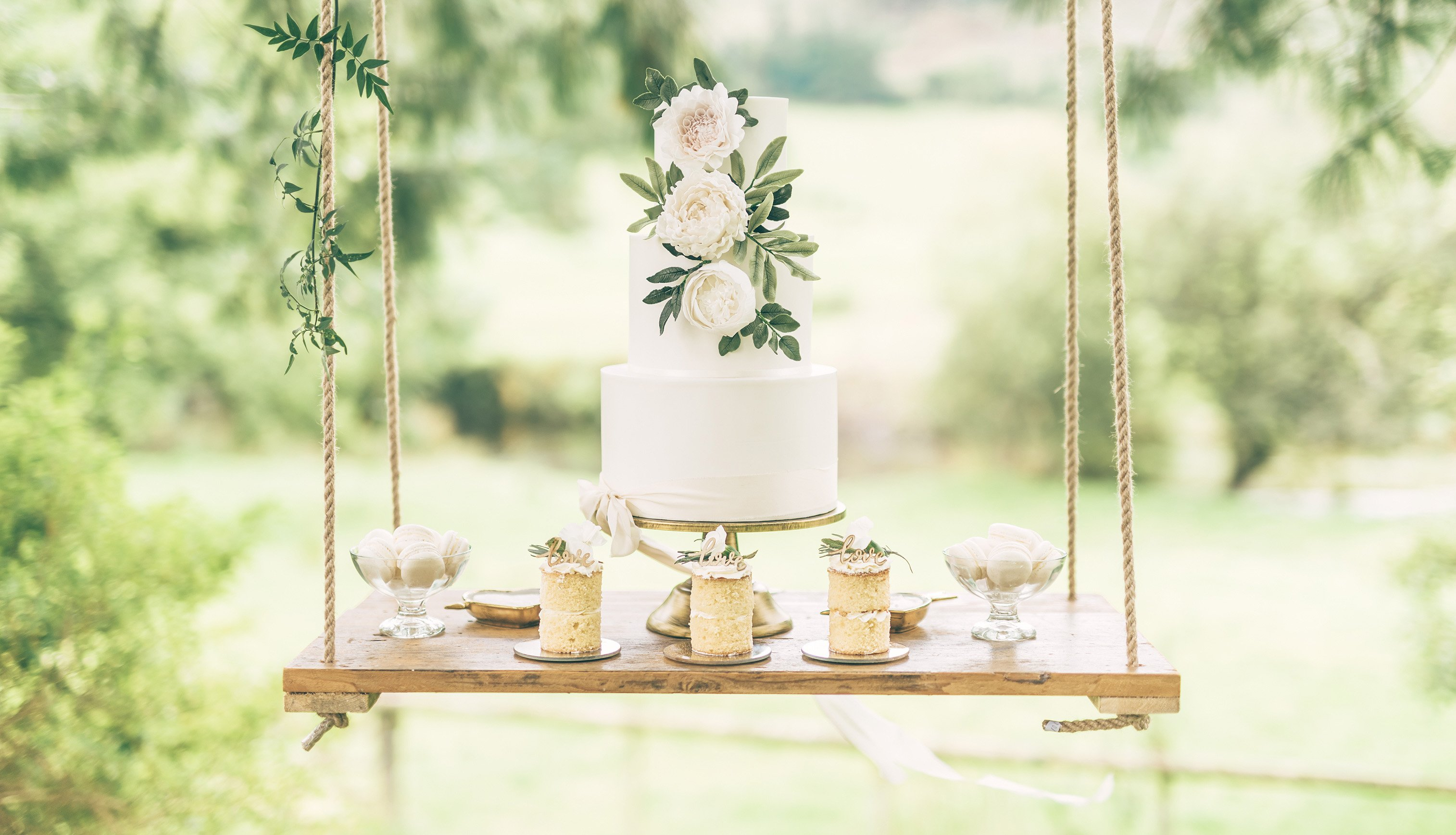 Wedding cake balancing on a swing hanging from a tree