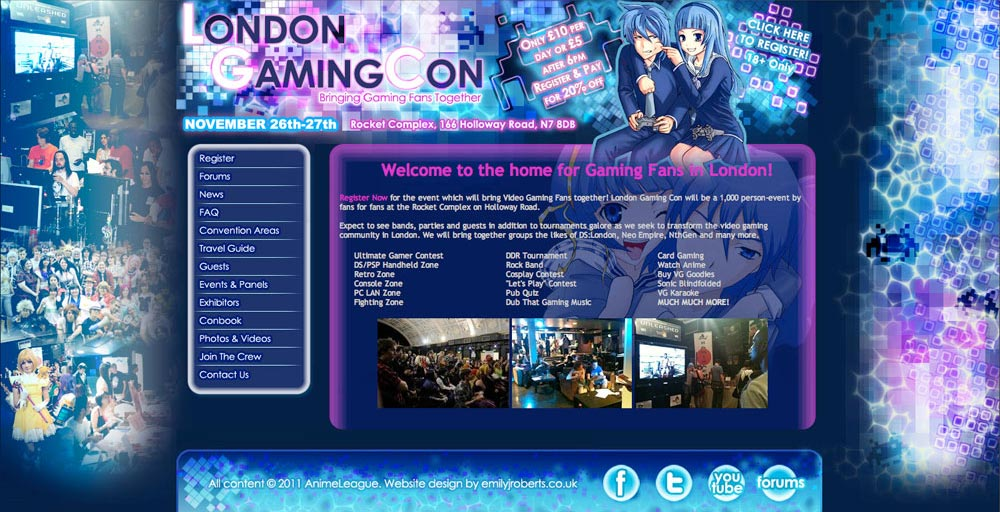 London Gaming Con Website - Emily J Roberts